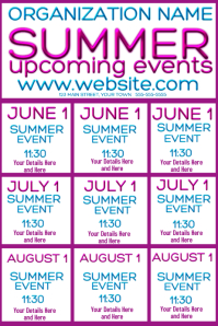 Upcoming Events Calendar - Summer