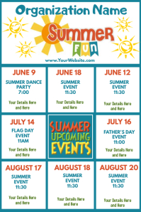 Upcoming Events Calendar Summer Fun