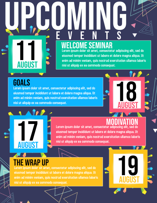 Calendar Templates Publisher : Upcoming events template postermywall