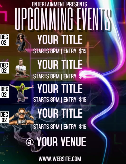 UPCOMING EVENTS FLYER TEMPLATE Volantino (US Letter)