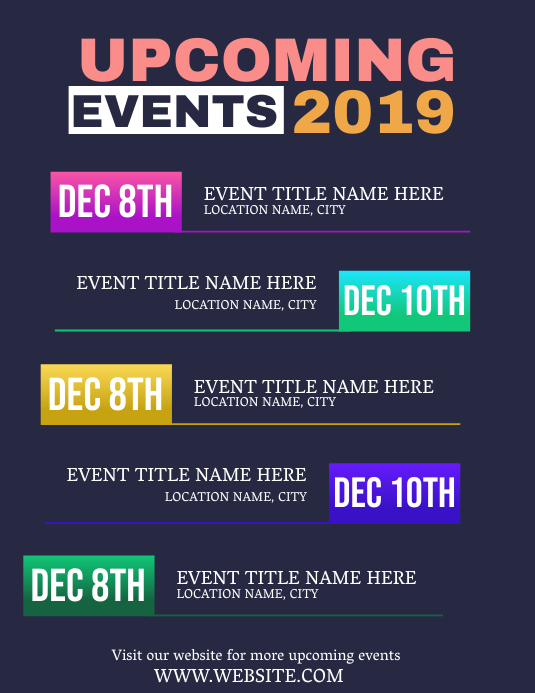 Upcoming Events Flyer Template ใบปลิว (US Letter)