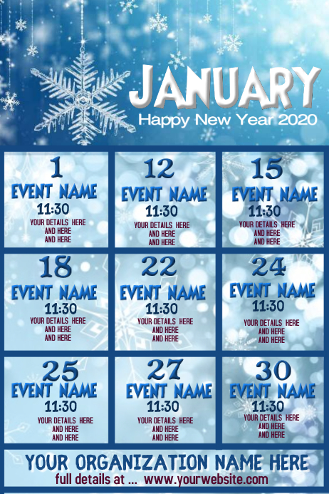 January Events Póster template