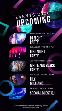 Upcoming Events Party Schedule Digital Display Video
