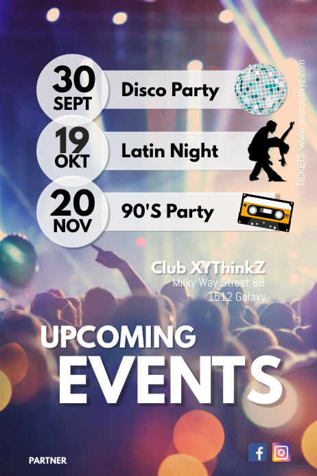 Upcoming events Partys Club Bar Location Ad