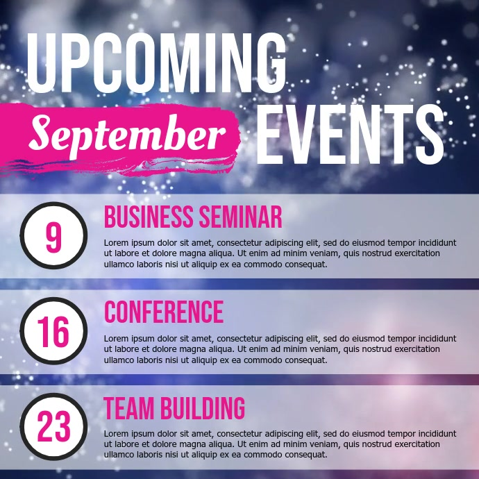 Upcoming Events Schedule Business Square Video
