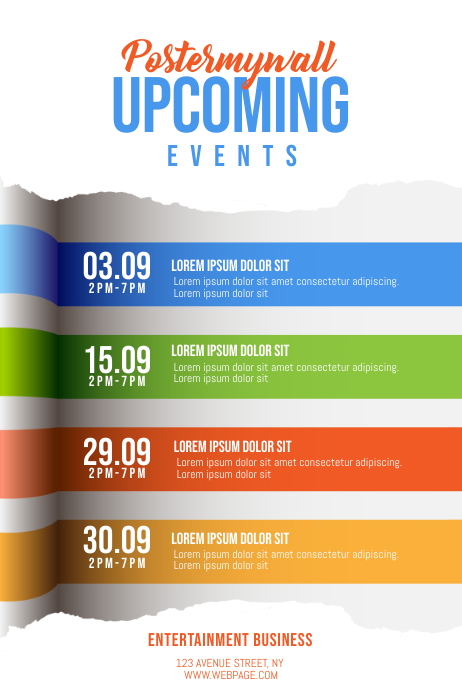 Upcoming events Schedule calendar Flyer