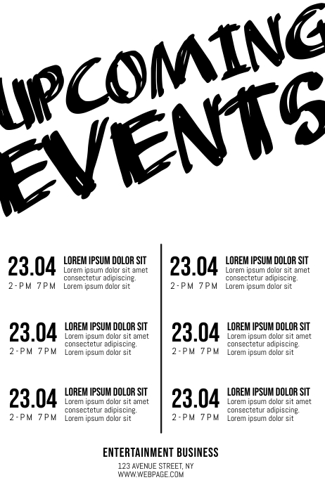 Upcoming Events schedule Iphosta template