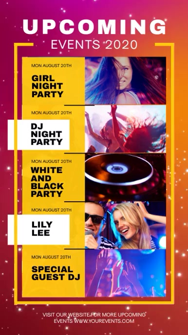 Upcoming Events Schedule Party Digital Display Video template