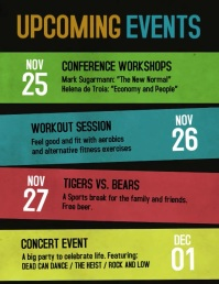 Upcoming events schedule video flyer Volantino (US Letter) template
