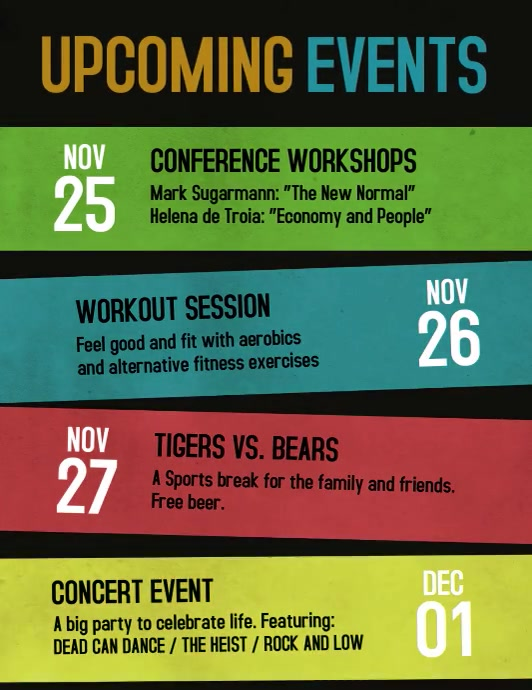 Upcoming events schedule video flyer template