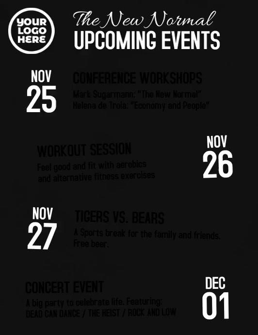 Upcoming events schedule video flyer Løbeseddel (US Letter) template