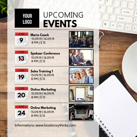 Upcoming events workshops seminars conference Instagram Post template
