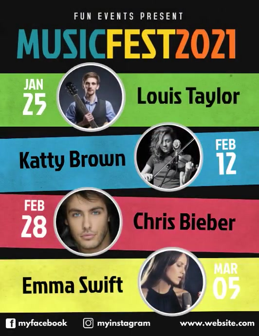 Upcoming music events schedule video flyer Folheto (US Letter) template