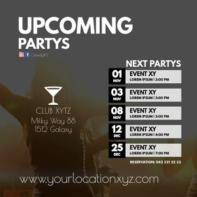Upcoming Partys Club Events Festival Ad bar