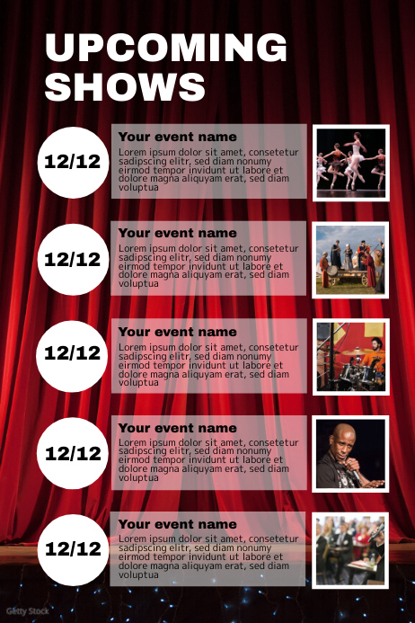 Upcoming shows events concerts plays musicals