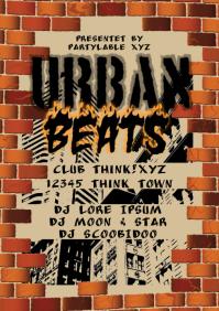 Urban beats hip hop flyer Template A4