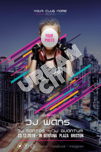 Urban City Disco Party Flyer Poster template