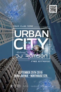 Urban City Disco Party Flyer Poster
