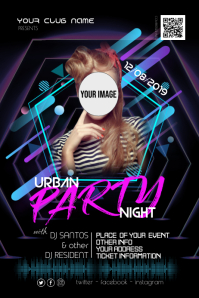 Urban Night City Disco Party Flyer Poster template