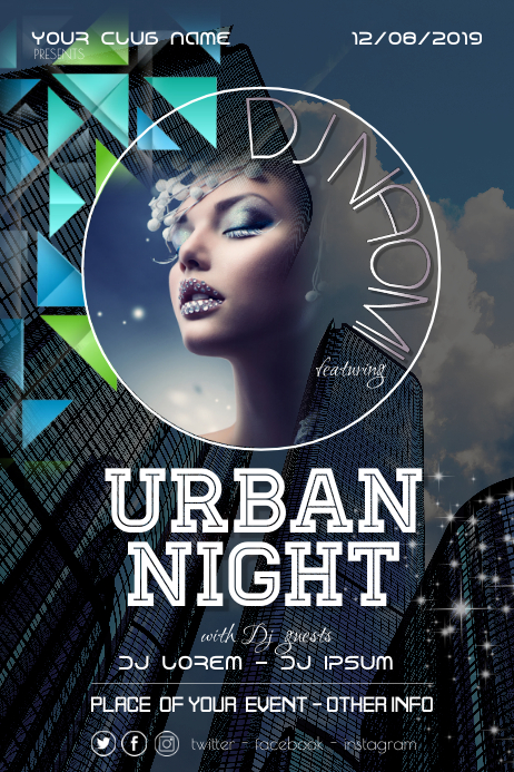 Urban Night City Disco Party Flyer Poster โปสเตอร์ template