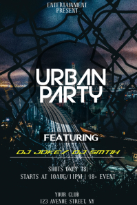 Urban night party flyer template