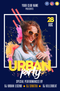 Urban Party Neon Flyer Affiche template