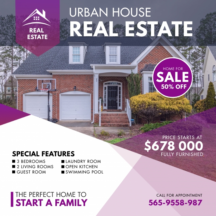 Urban Real Estate House Review Instagram Temp template