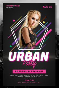 Urban Retro Neon Party Night Club Flyer