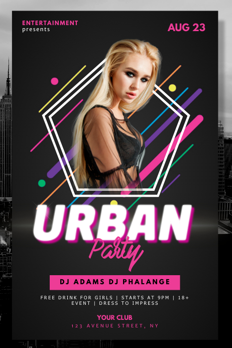 Urban Retro Neon Party Night Club Flyer