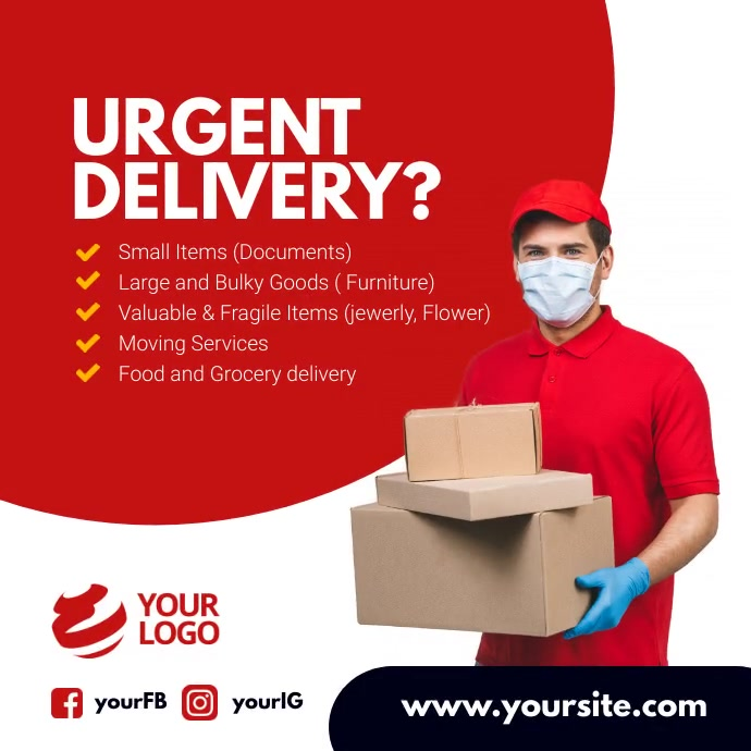 Urgent delivery services instagram template