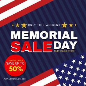 US Flag Memorial Day Sale Ad Quadrado (1:1) template