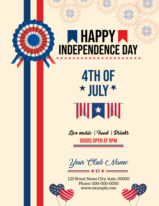 Us Independence Day Flyer 传单(美国信函) template