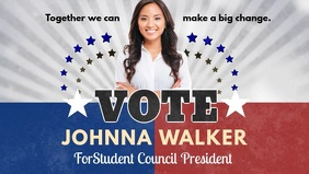 US School Election Vote for Me FB Banner Facebook Cover Video (16:9) template