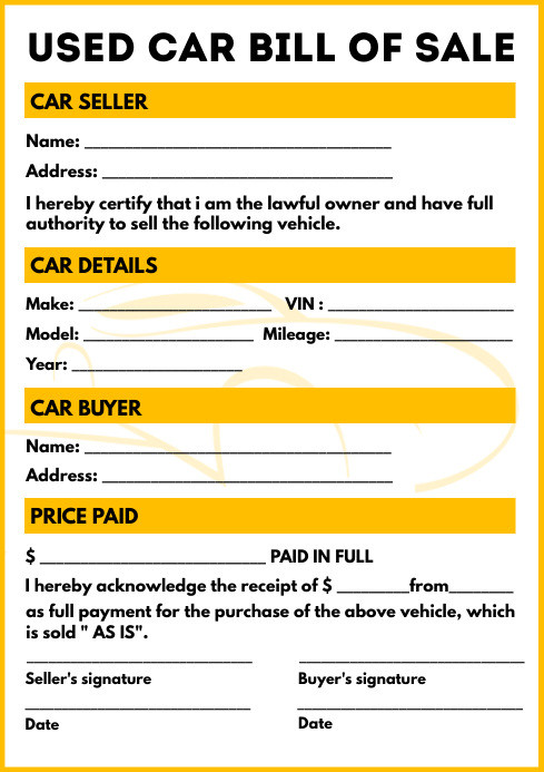 Used Car Bill Sale Form Template A4
