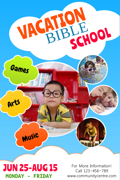 copy of vacation bible school template postermywall. Black Bedroom Furniture Sets. Home Design Ideas