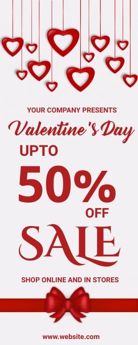 valentine's, romantic, event Spanduk Gulir Atas 2' × 5' template