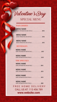 valentine's, romantic, event,menu,party Digital Display (9:16) template