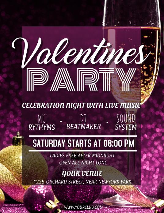 Valentine's, valentine's party flyer, romantic