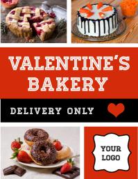 Folleto de entrega de pastelería de San Valentín Flyer (US-Letter) template