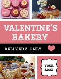 Folleto de entrega de pastelería de San Valentín Folheto (US Letter) template