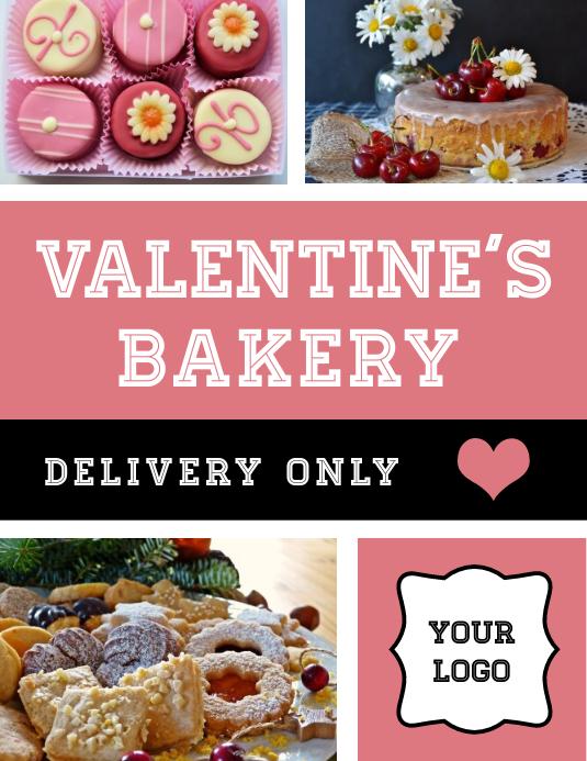 Folleto de entrega de pastelería de San Valentín Pamflet (Letter AS) template