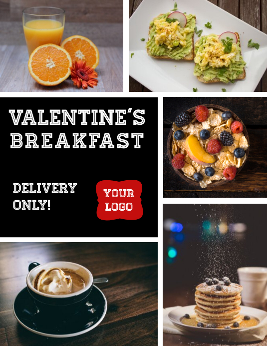 Valentine's Breakfast Delivery Flyer Ulotka (US Letter) template