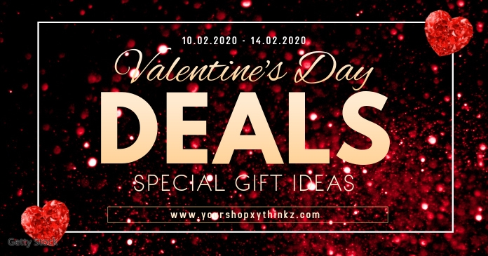 Valentine's Day Advert Cover Deals Red Hearts Facebook 共享图片 template