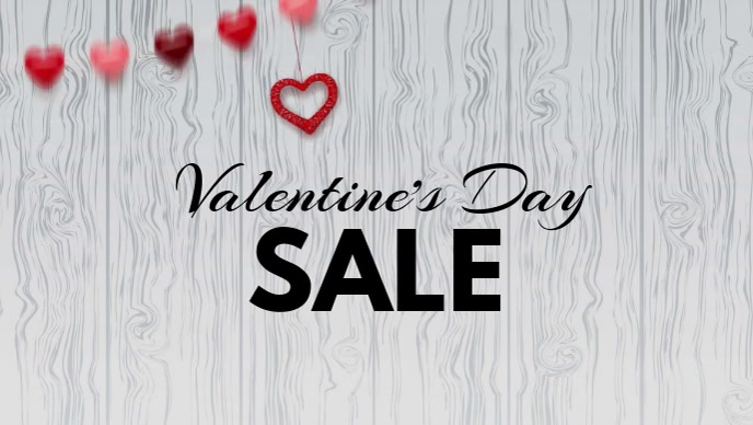 valentine's day advert video promo shopping sale hearts wood วิดีโอหน้าปก Facebook (16:9) template