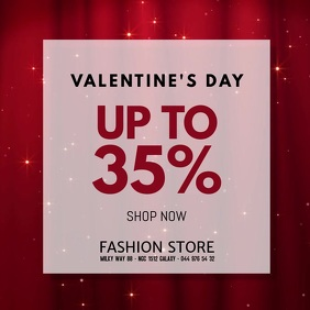 Valentine's Day Advertising Video Sale Shop Квадрат (1 : 1) template