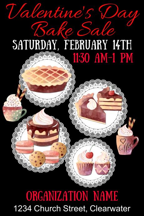 Valentine's Day Bake Sale Modern Plakat template