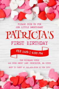 Valentine's Day Birthday Invitation Label template