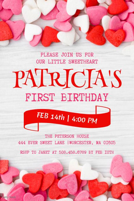 Valentine's Day Birthday Invitation Etykieta template