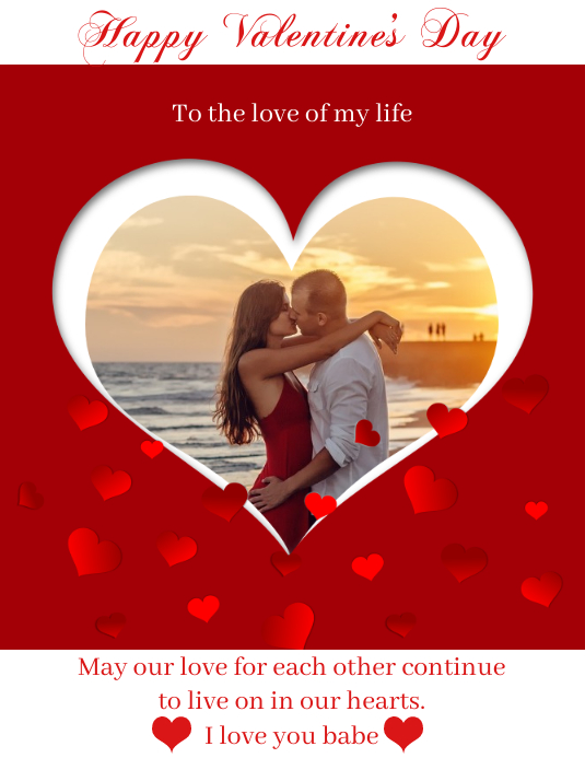 Valentine's Day Card Volante (Carta US) template
