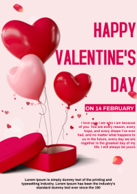 valentine's day card A4 template